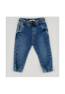 Calça Jeans Infantil Jogger Azul Escuro