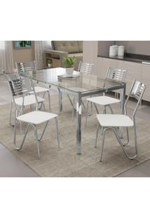 Conjunto De Mesa 6 Cadeiras Crome Cmc042Cr-106 Branco