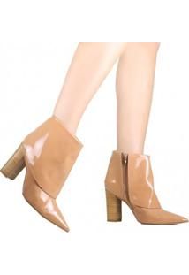 Bota Zariff Ankle Boot Verniz Feminina - Feminino-Nude