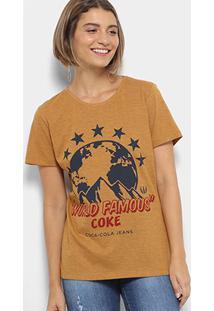 Camiseta Coca-Cola World Famous Feminina - Feminino-Amarelo