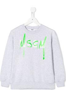 Msgm Kids Moletom Mangas Longas Com Logo - Cinza