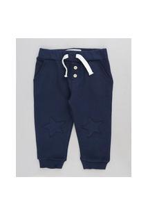 Calça Infantil Em Moletom Com Bordado De Estrela Azul Marinho