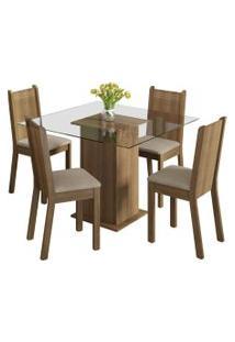 Sala De Jantar Madesa Base De Madeira Com Tampo De Vidro E 4 Cadeiras Magda - Rustic/ Pérola Marrom