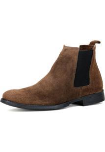 Bota Chelsea Masculina Mr Shoes Camurça Marrom - Kanui