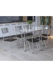 Conjunto Sala De Jantar Kappesberg Mesa E 6 Cadeiras Cromado/Preto