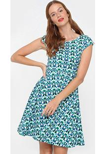 Vestido Slink Evasê Curto Estampado - Feminino