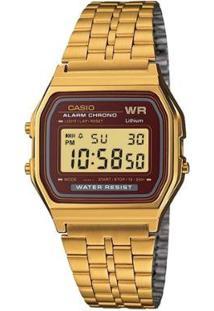 Relógio Casio Vintage Digital A159Wgea - Feminino-Dourado+Vermelho