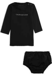 Vestido Calvin Klein Kids Infantil Com Calcinha Preto