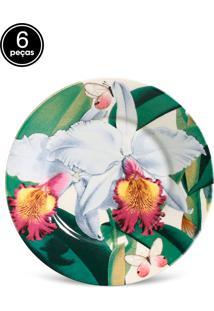 Conjunto 6Pçs Pratos De Sobremesa Porto Brasil Mônaco Orchids Branco