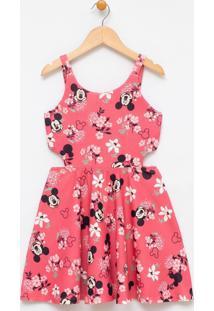 Vestido Infantil Estampado Com Recorte Lateral Mickey - Tam 4 A 14