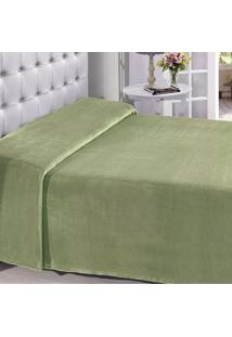 Manta Buettner Solteiro Microfibra Verde Lisa Extra Brilho Flannel Fleece