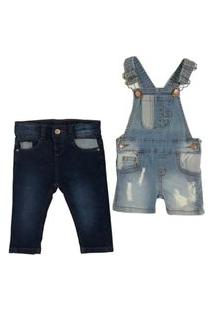 Kit 2 Pçs Calça Skinny Jeans E Jardineira Short Mabu Denim