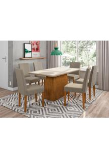 Conjunto De Mesa De Jantar Com Tampo De Vidro Bárbara E 6 Cadeiras Heloise Veludo Linho Off White E Cinza