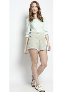 Short Em Tweed Com Franjas - Verde & Branco - Santíssantíssima