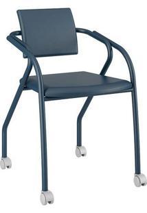 Cadeira Com Rodízios 1713 Color Uv Azul Noturno Carraro