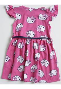 Vestido Infantil Manga Curta Estampa Hello Kitty Sanrio