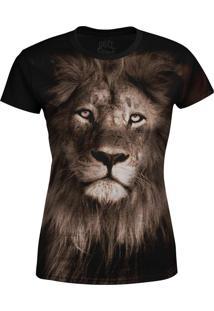 Camiseta Baby Look Leão Over Fame Marrom