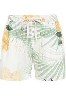 Bermuda Masculina Pj Linen Hibisco - Off White