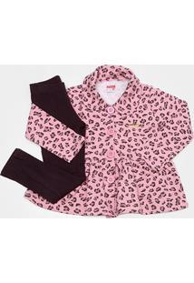 Conjunto Infantil Marlan Legging Felpada Feminino - Feminino-Rosa
