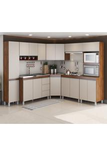 Cozinha Completa Canne 16 Portas 3 Gavetas Seda/Off White - Viero Móveis
