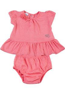 Conjunto Bebê Malha Devorê Oxigenio Strass - Feminino-Laranja