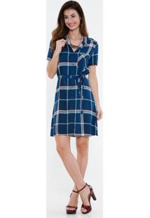 Vestido Feminino Xadrez Manga Curta Marisa