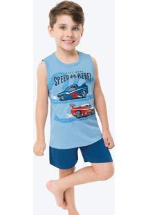 Pijama Azul Claro Estampado Infantil