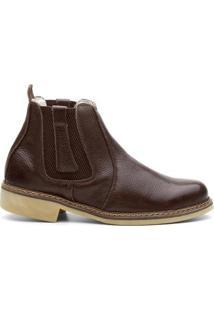 Bota Valente Boots Detalhe Lateral Cano Curto Masculina - Masculino-Cafe