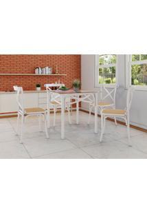 Conjunto De Mesa De Jantar Com 4 Cadeiras E Tampo De Vidro Katrina Branco