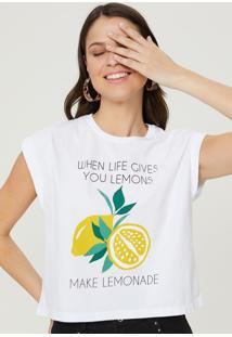 T-Shirt Amaro Manga Dobrada Frase Branco - Branco - Feminino - Dafiti