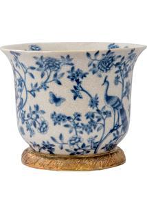 Vaso De Porcelana E Bronze Iii - Blue White