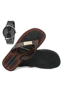 Chinelo Danper Sapatofran Tradicional Tiras Largas Marrom Com Relógio