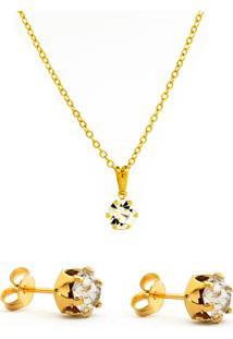Kit Gargantilha Brincos Horus Import Banhado Ouro Amarelo 18 K