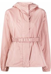 Moncler Jaqueta Com Capuz E Elástico Na Cintura - Rosa
