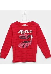 Camiseta Infantil Brandili Manga Longa Motor Show Masculina - Masculino-Vermelho