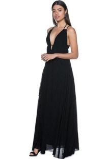 Vestido Amaro Longo De Tule Devorê - Feminino