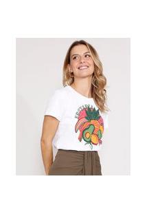 Camiseta Frutas Manga Curta Decote Redondo Off White