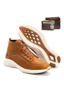 Tenis Masculino Em Couro Jhon Boots Yeeze Sneakers Cevada + Carteira Em Couro