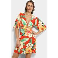 171624f69 Vestidos Farm Curto Evasê Estampa Floral Abertura Costas - Feminino-Vermelho