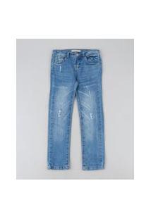 Calça Jeans Infantil Reta Com Puídos Azul Médio