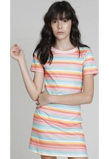 Vestido T-Shirt Love Dress Listrado Manga Curta Coral