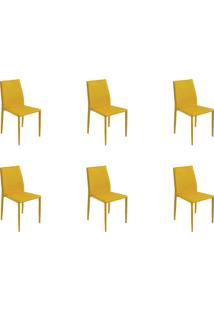 Kit 06 Cadeiras Amanda Pvc Amarela Rivatti - Tricae