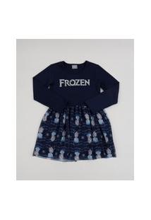 Vestido Infantil Elsa Frozen Metalizado Com Tule Manga Longa Azul Marinho