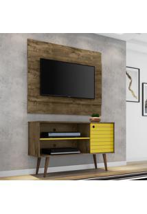 Rack Com Painel Para Tv Até 42 Polegadas Mumbai Marrom/Amarelo - Pnr Móveis