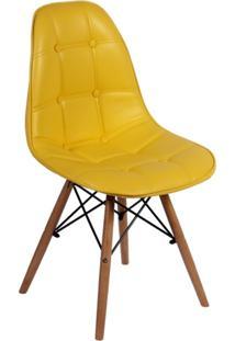 Cadeira Império Brazil Dkr Charles Eames Wood Estofada Botonê Amarela