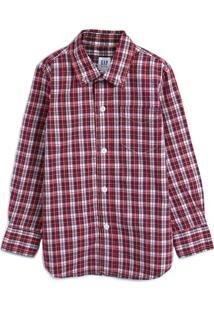 Camisa Gap Menino Xadrez Vermelha/Azul-Marinho