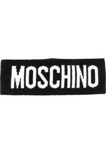Moschino Cachecol De Lã Com Logo - Preto