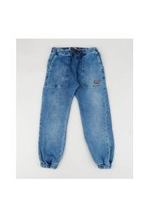 Calça Jeans Infantil Jogger Cargo Azul