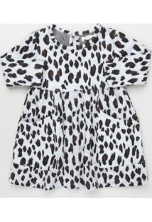 Vestido Infantil Estampado Animal Print Onça Manga Longa Cinza Mescla