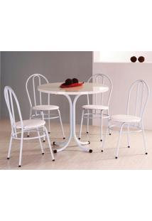 Conjunto De Mesa Redonda Com 4 Cadeiras Estrutura Em Aço - Branco